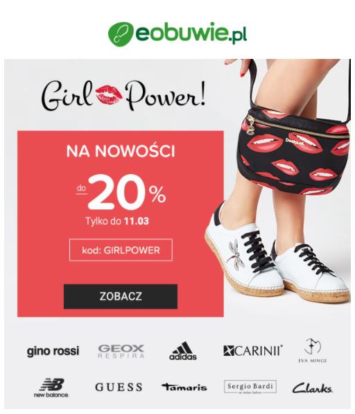 newsletter z wezwaniem do działania z eobuwie.pl