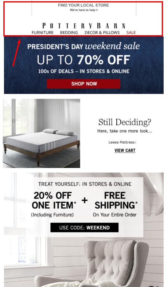mail ze sklepu internetowego POTTERYBARN