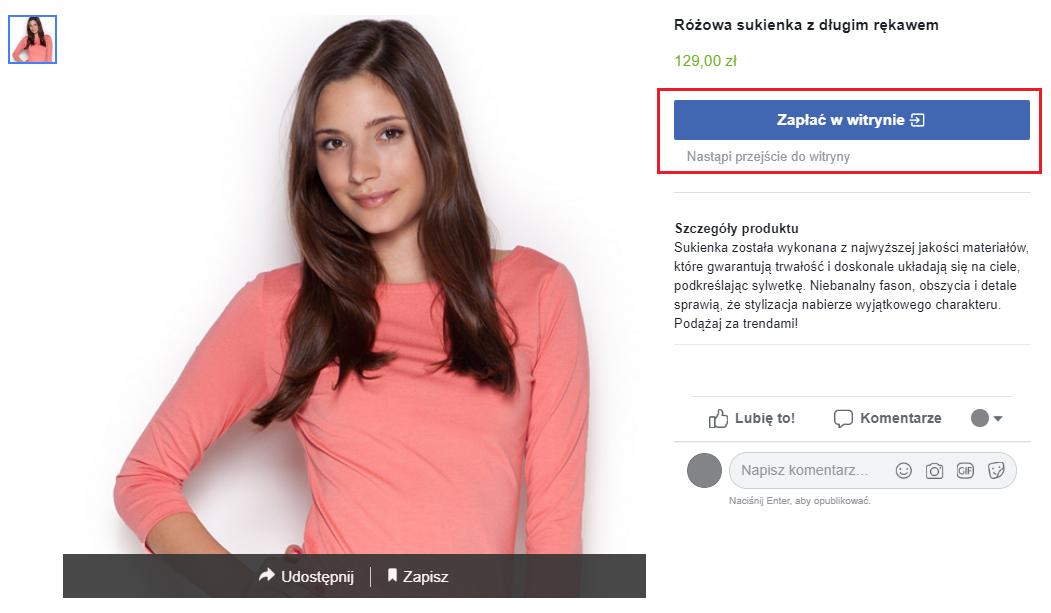 produkt w sklepie na facebooku