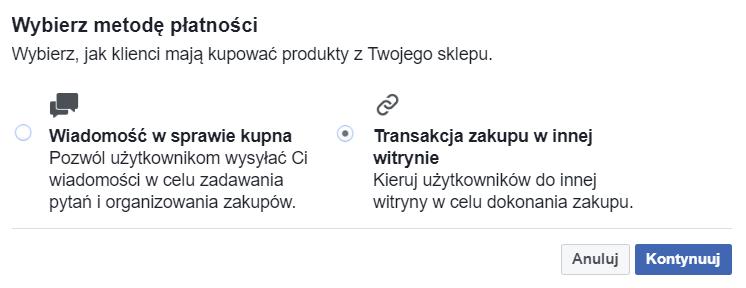 wybór metody płatności w sklepie na facebooku