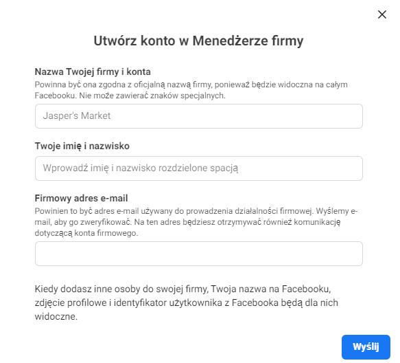 Tworzenie konta Menedżer Firmy Facebook