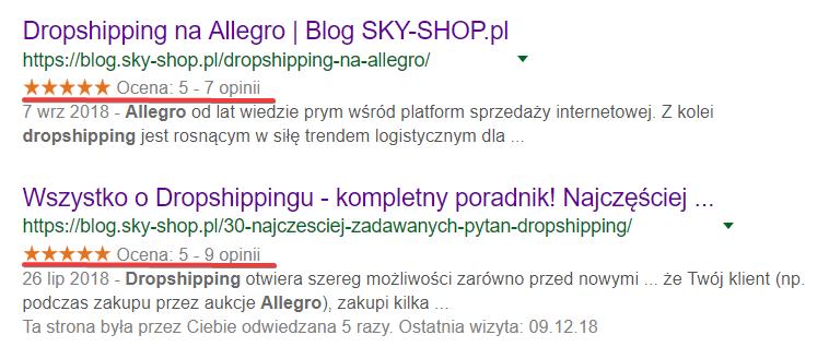 rich snippets w Google - pozycjonowanie
