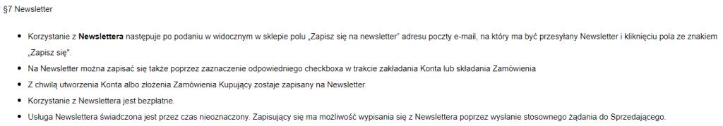 newsletter-regulamin-sklepu-internetowego