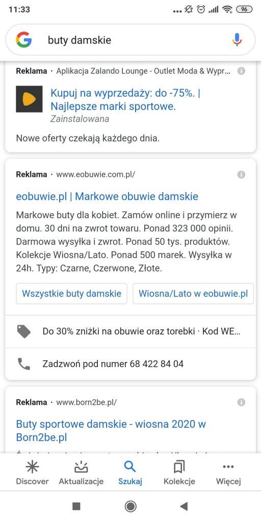 reklamy Google Ads na telefonie