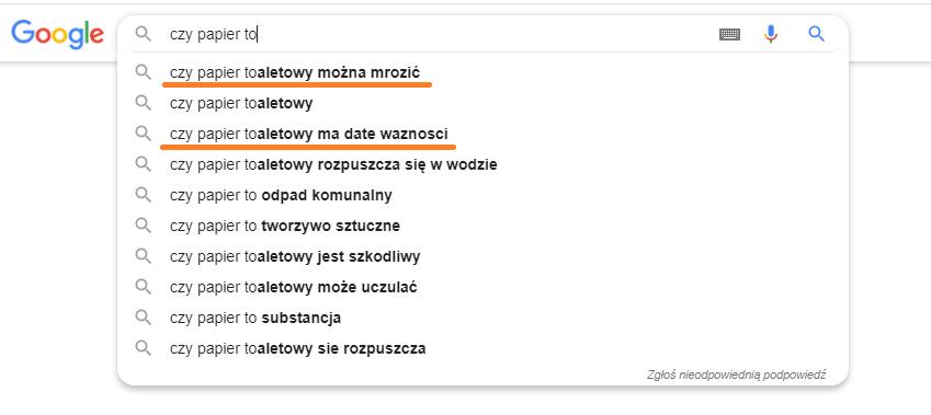 hasła wpisywane w google w czasie koronawirusa na temat papieru toaletowego