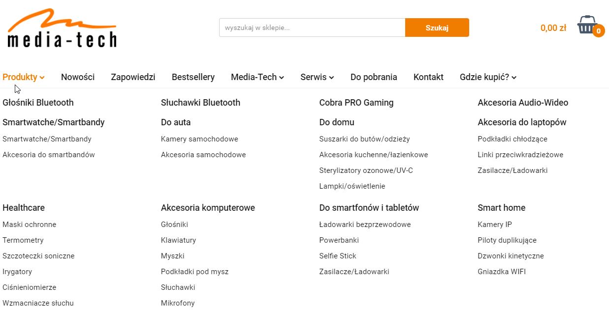 Media-tech_menu w sklepie internetowym
