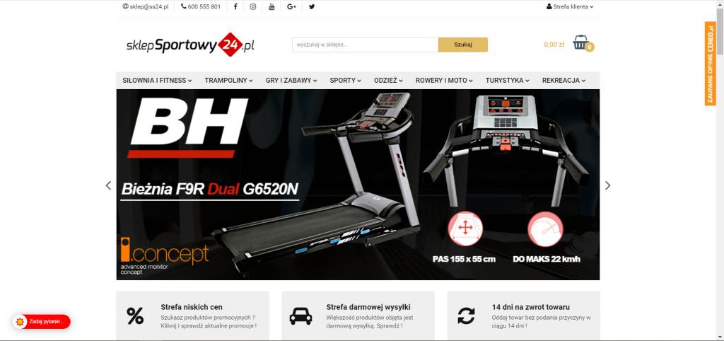Strona główna sportowego sklepu internetowego na Sky shop
