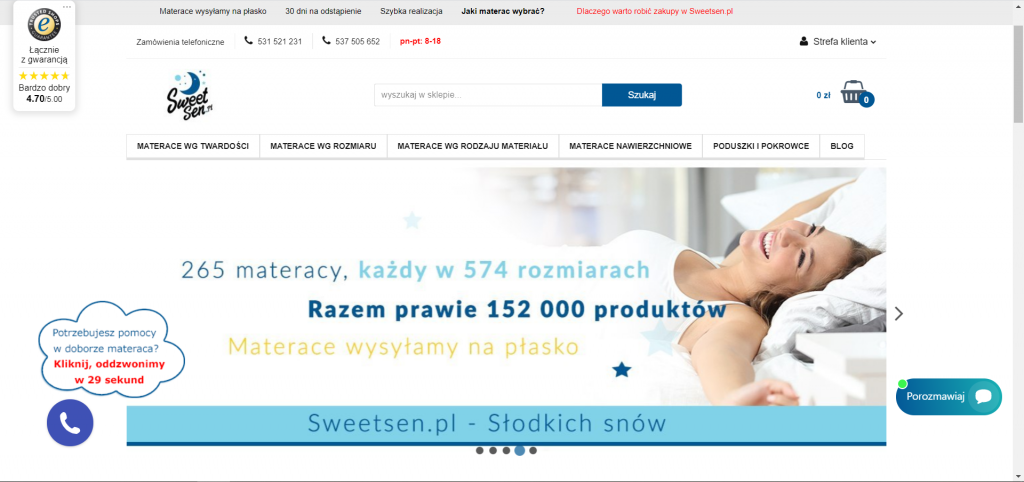 sklep internetowy z polskimi materacami